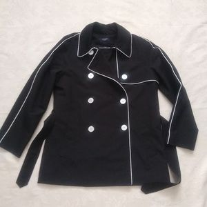 Trench double breasted belted piping coat